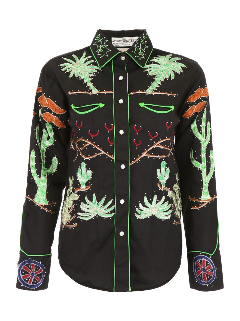 Jessie Western Embroidered Western Shirt - BLACK (Black)