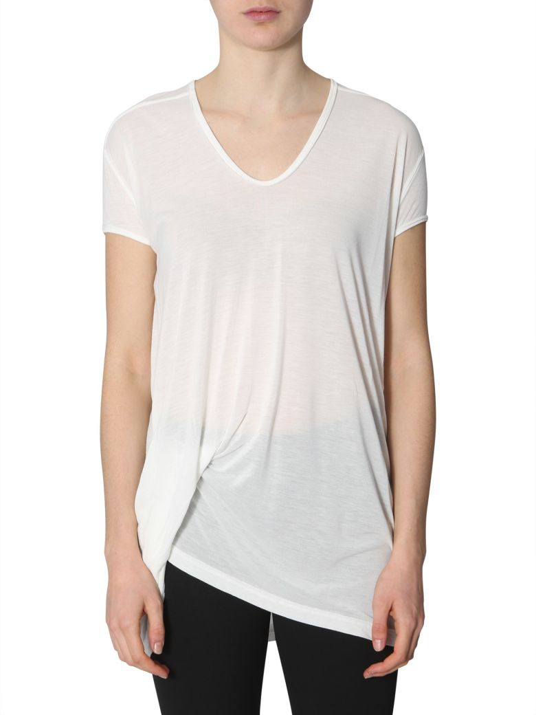 Rick Owens T-shirt With Draping - BIANCO