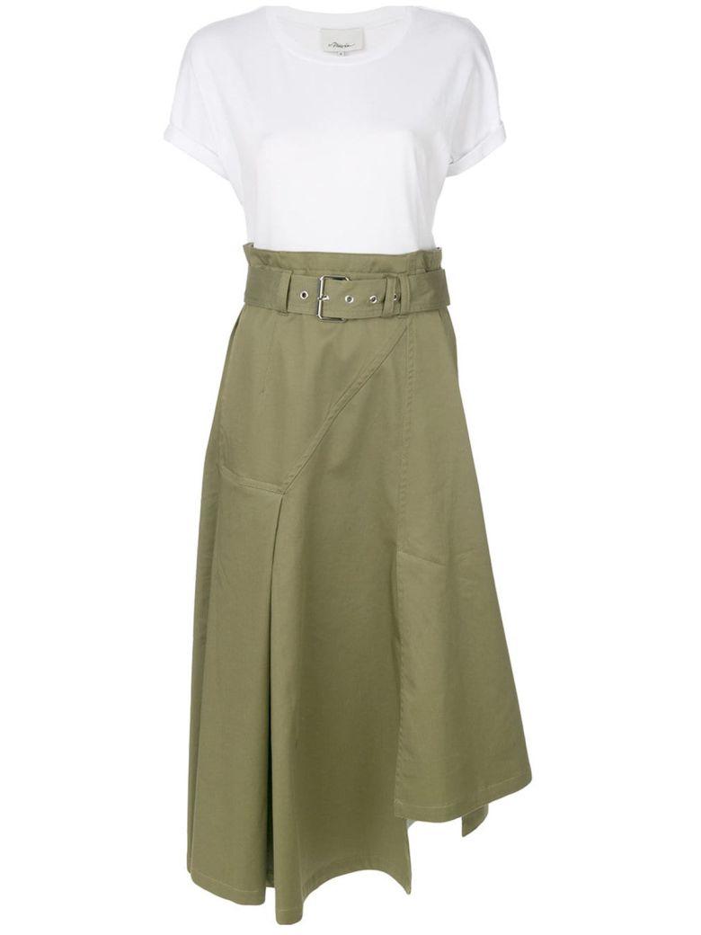 3.1 Phillip Lim Utility Cotton Twill And Jersey Midi Dress - Multicolor
