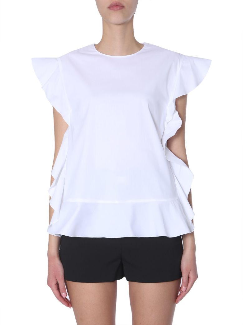 RED Valentino Top With Ruches Detail - BIANCO