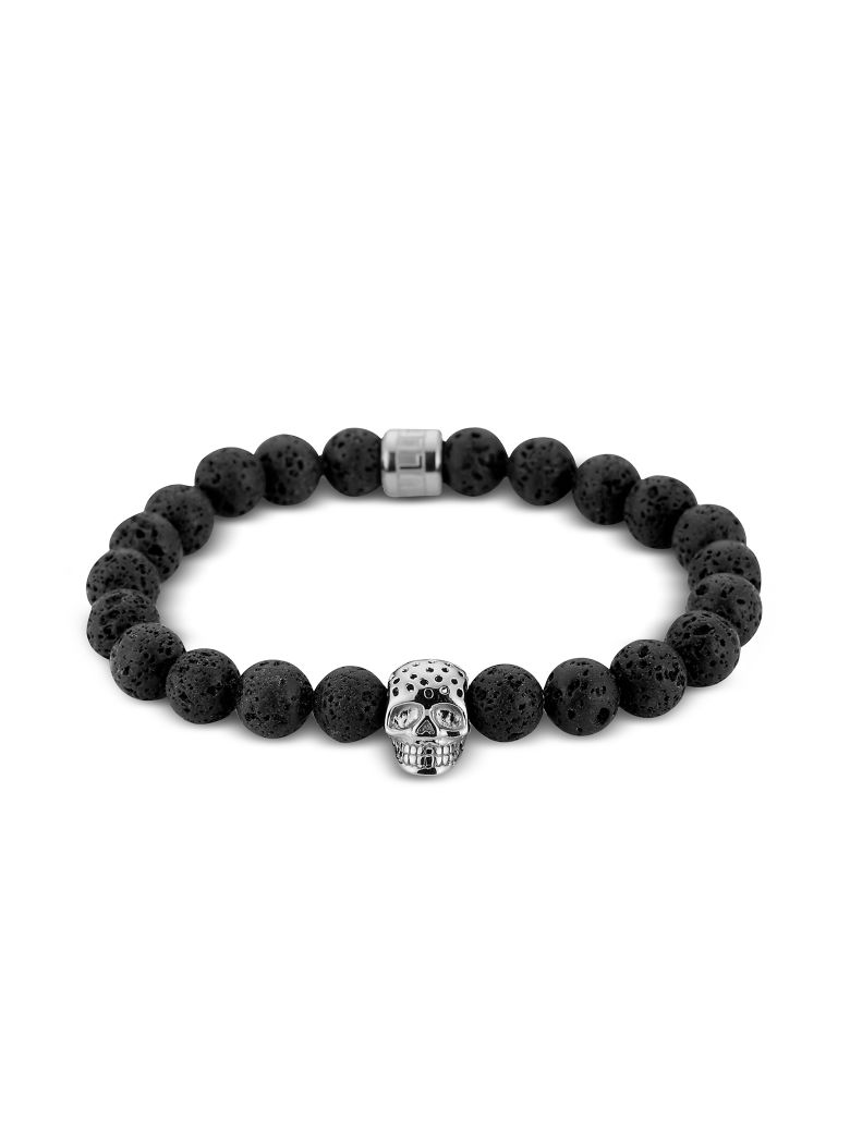 Northskull Lavastone & Perforated Silver Skull Charm Bracelet - Black