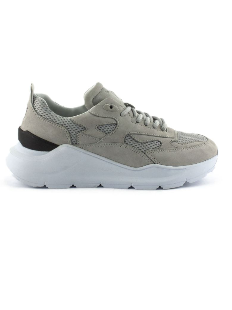 D.A.T.E. Running Sneakers In Grey Nubuck Leather - Grigio