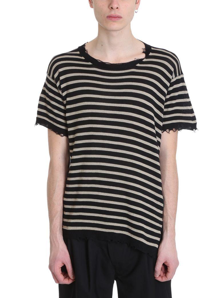 Maison Flaneur Beige/black Cotton Sweater - black