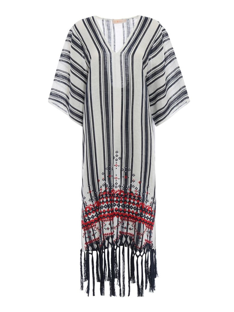Tory Burch Striped Kaftan Dress - Tory Navy