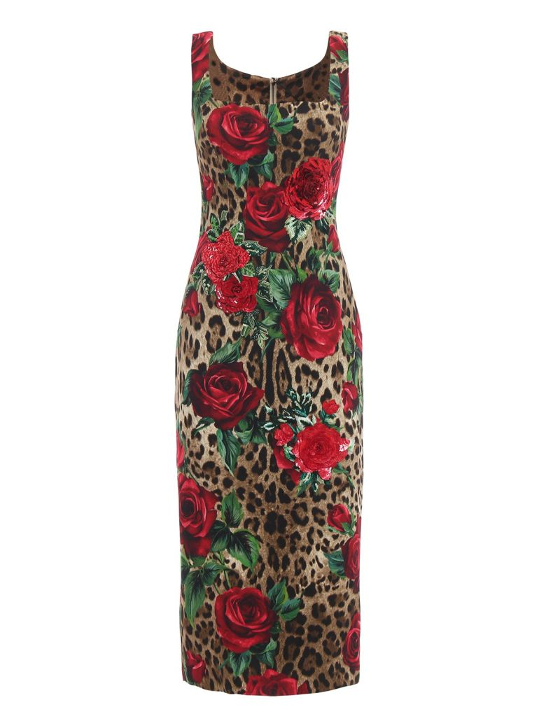 Dolce & Gabbana Leopard Rose Print Dress - Hkirs Rose Rosse Fdo Leo