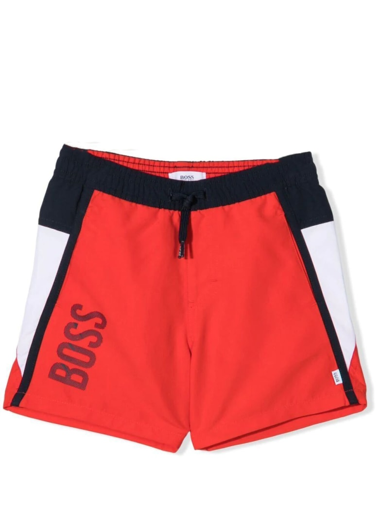 Hugo Boss Swimsuit With Drawstring - Red