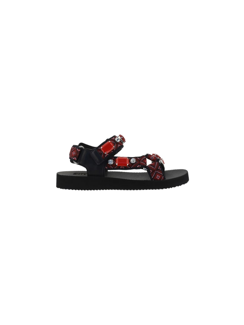 Car Shoe Sandals - Nero+rosso