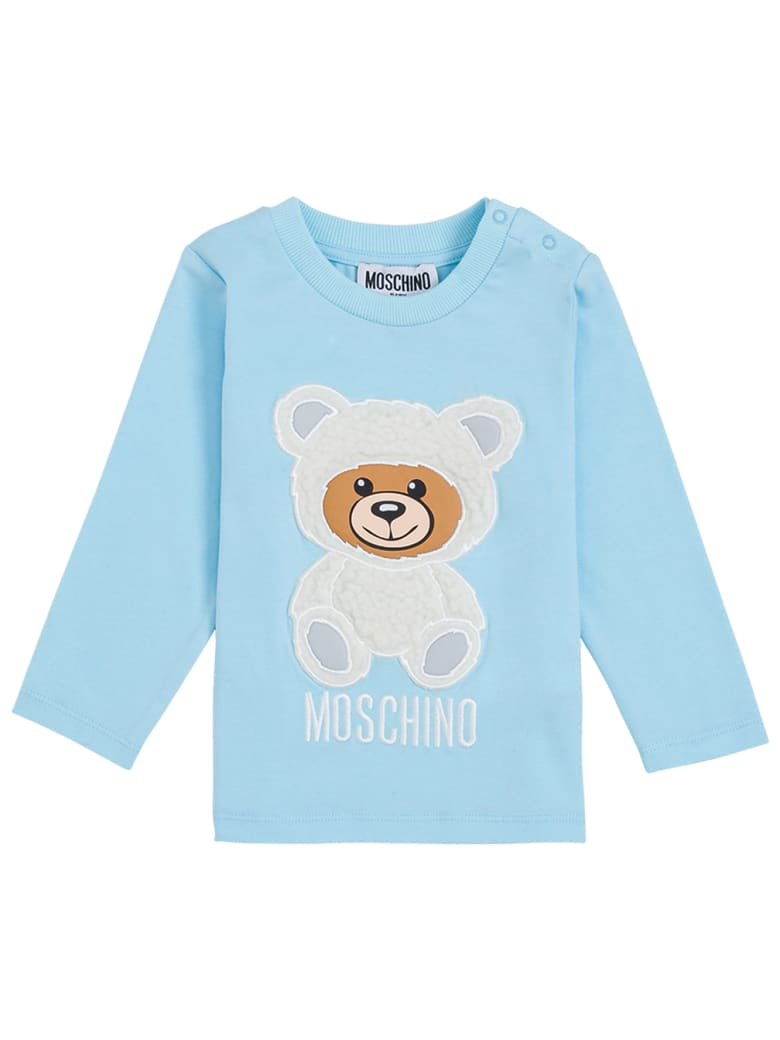 Moschino Long-sleeved T- Shirt In Light Blue Cotton With Teddy Bear - Light blue