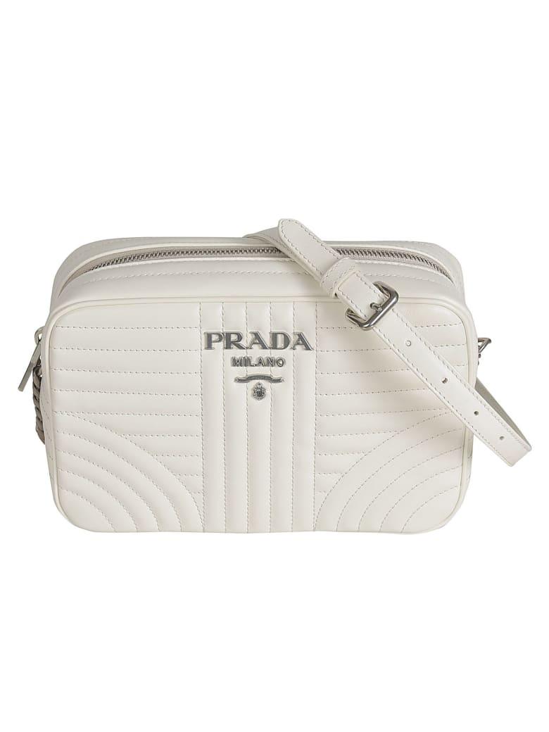 Prada Quilted Zip-around Logo Shoulder Bag - White