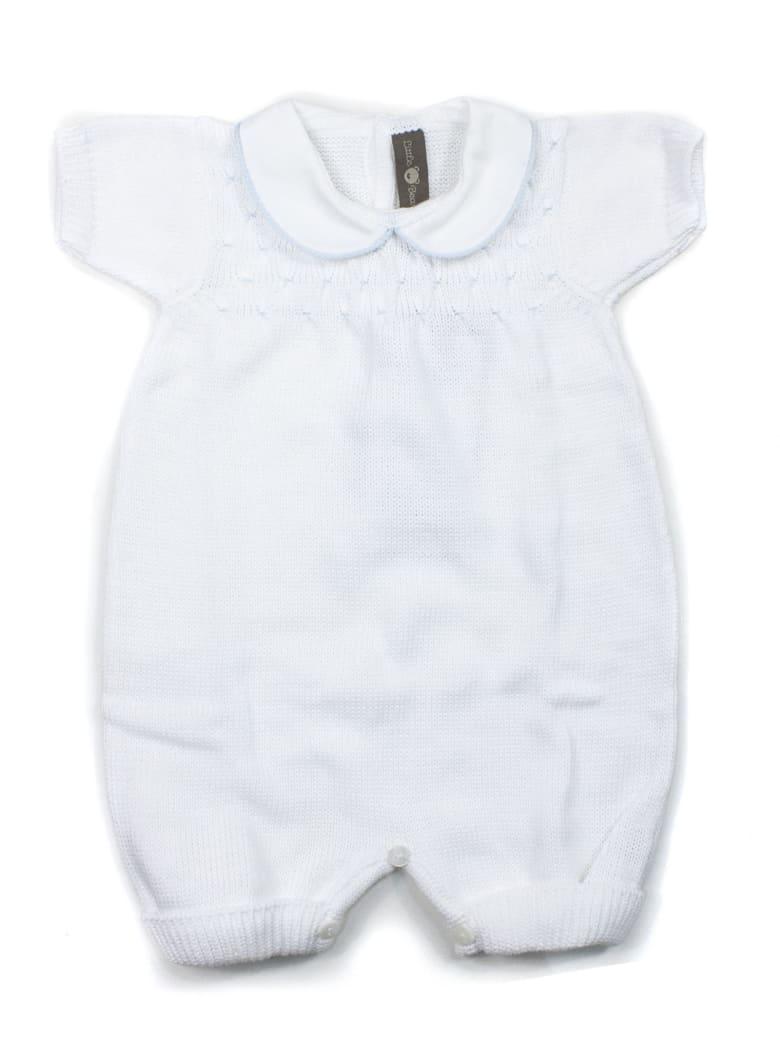 Little Bear White Cotton-blend Romper - Bianco+celeste