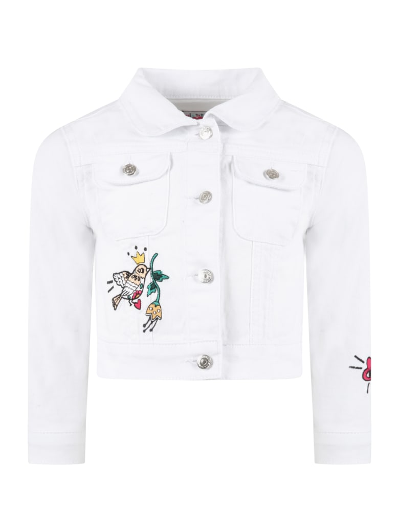 Sonia Rykiel White Jacket For Girl With Patches - White