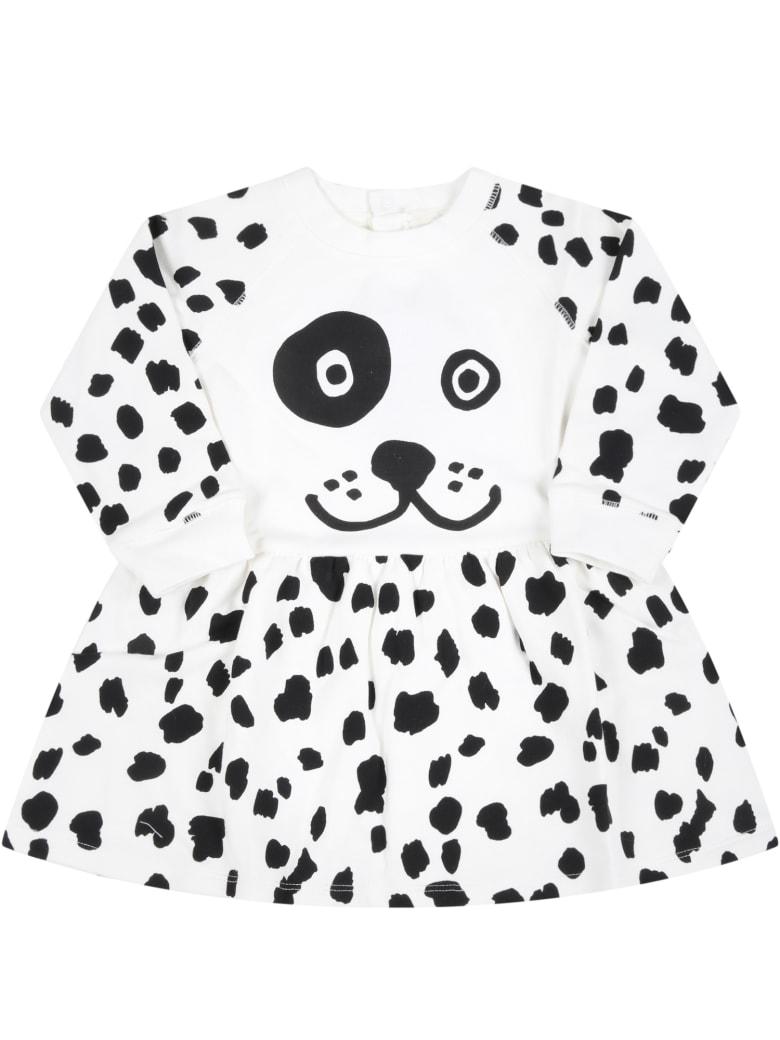 Stella McCartney Kids White Dress For Baby Girl With Dalmatien Prints - White