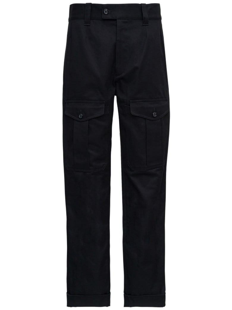 Alexander McQueen Black Cotton Pants With Pockets - Black