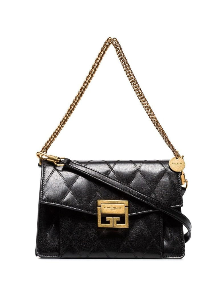 Givenchy Black Gv3 Small Quilted Leather Bag