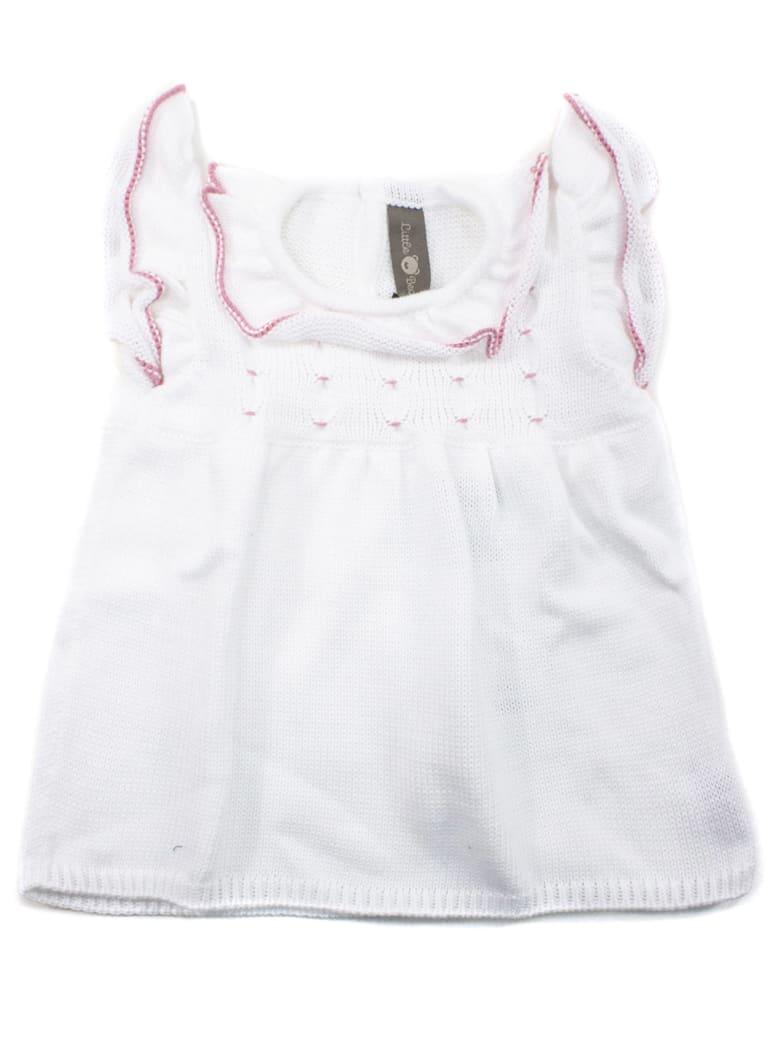 Little Bear White Cotton Dress - Bianco+rosa