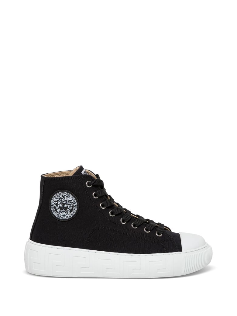 Versace Greca Sneakers In Black Canvas With Logo - Black