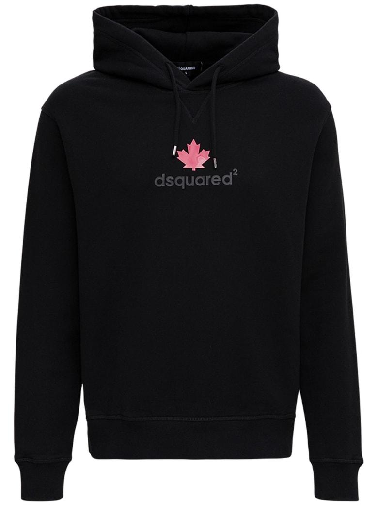 Dsquared2 Black Cotton Hoodie With Logo Print - Black