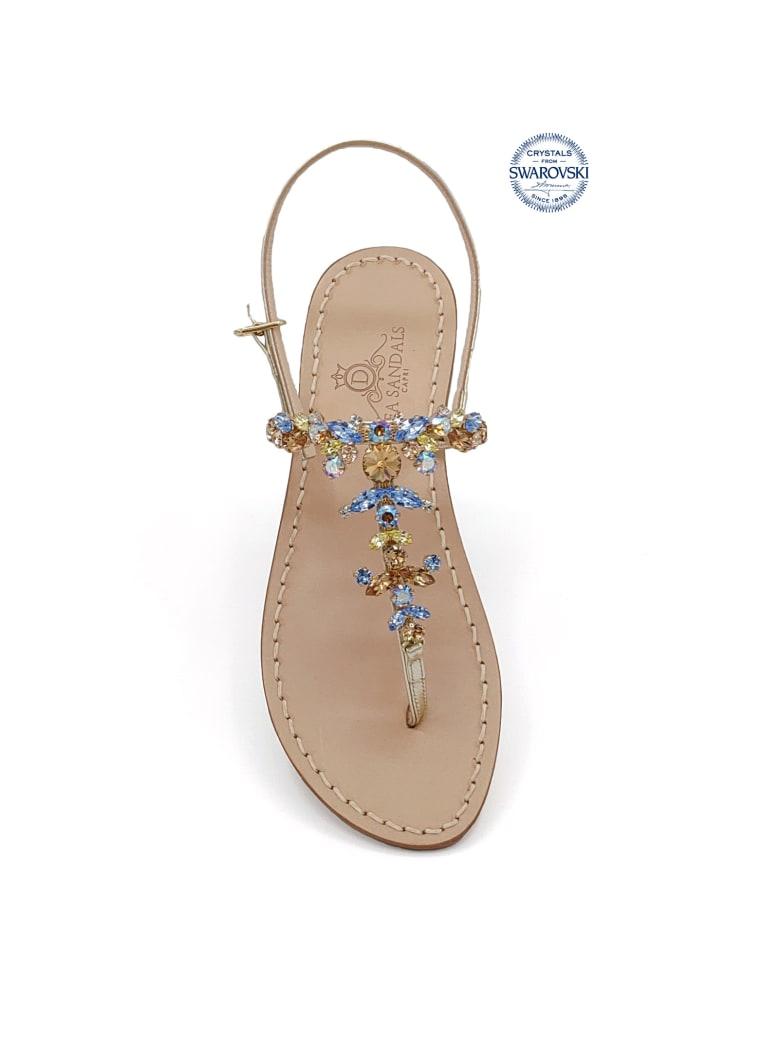 Dea Sandals Scopolo Jewel Thong Sandals - gold, blue, brown