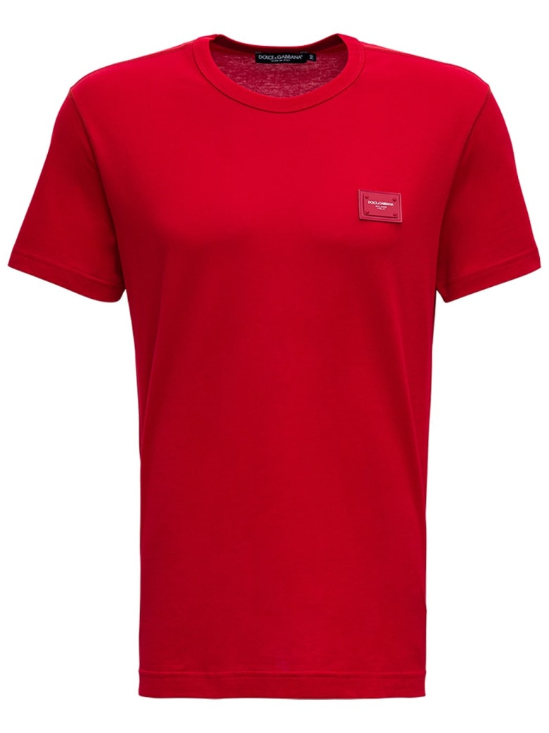 Dolce & Gabbana Red Cotton T-shirt With Logo - Red