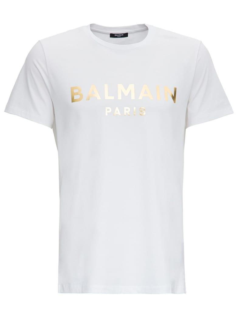 Balmain Laminated Logo Tee In White Jersey - White