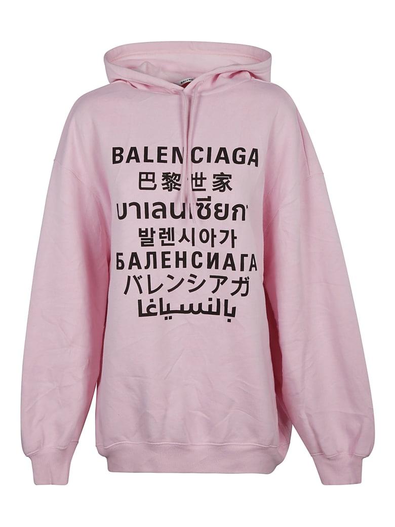 Balenciaga Oversize Printed Hoodie - Rosa