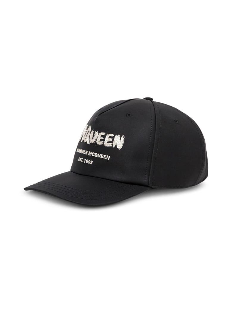 Alexander McQueen Black Hat With Graffiti Logo - Black