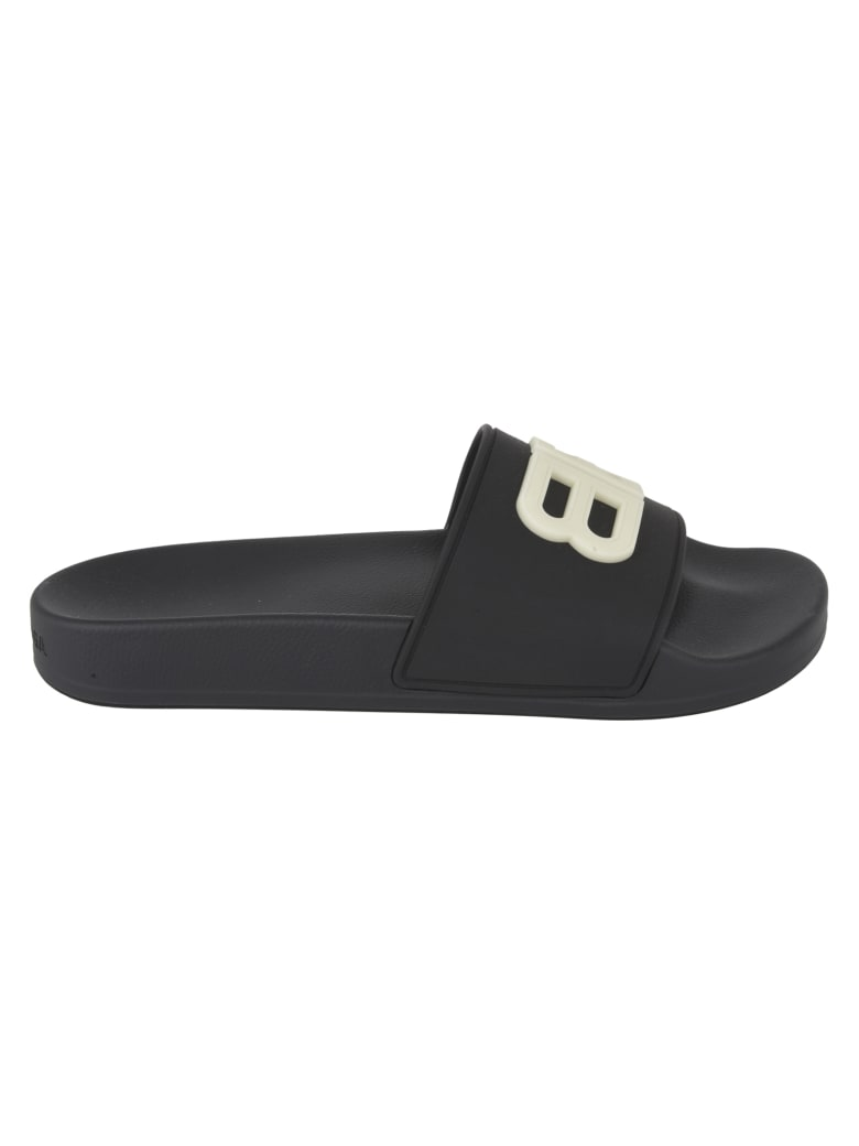 Balenciaga Embossed Logo Pool Sliders - Black/Glow