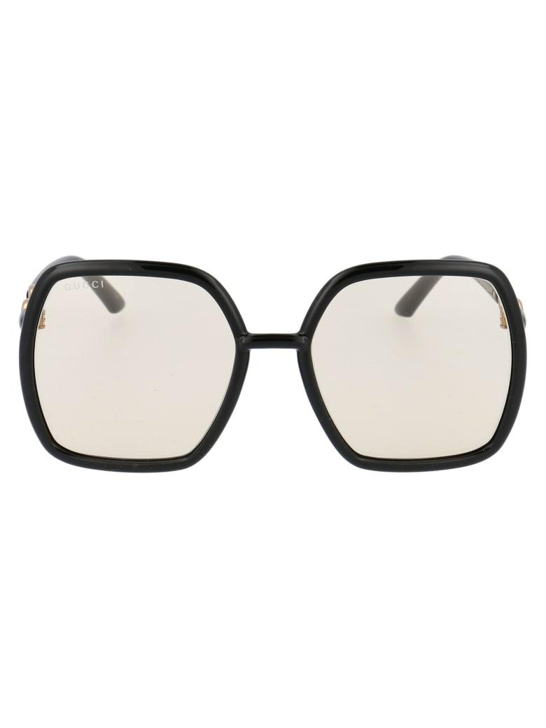 Gucci Gg0890s Sunglasses - 005 BLACK BLACK YELLOW