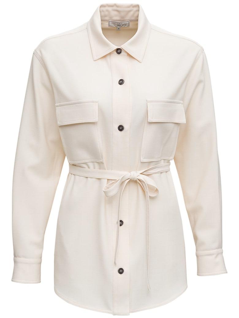 Antonelli Cloe Wool Blend Jacket In Ivory Color - White