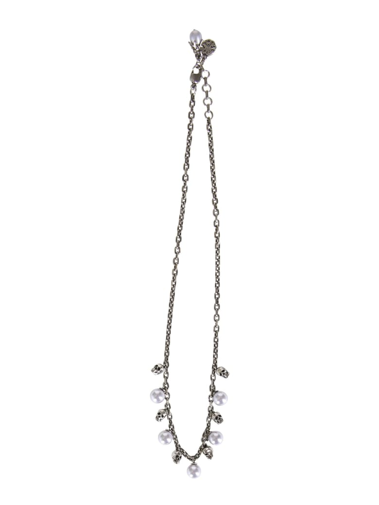 Alexander McQueen Pearl And Skull Necklace - ARGENTO