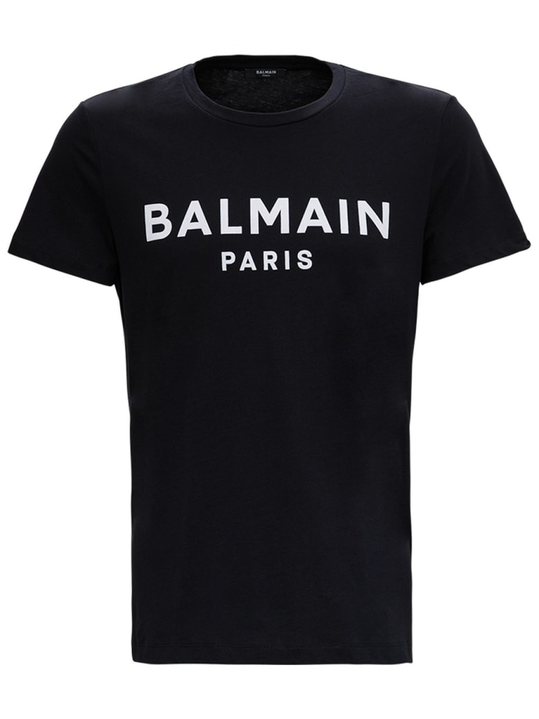 Balmain Black Jersey Tee With Contrasting Logo - Black