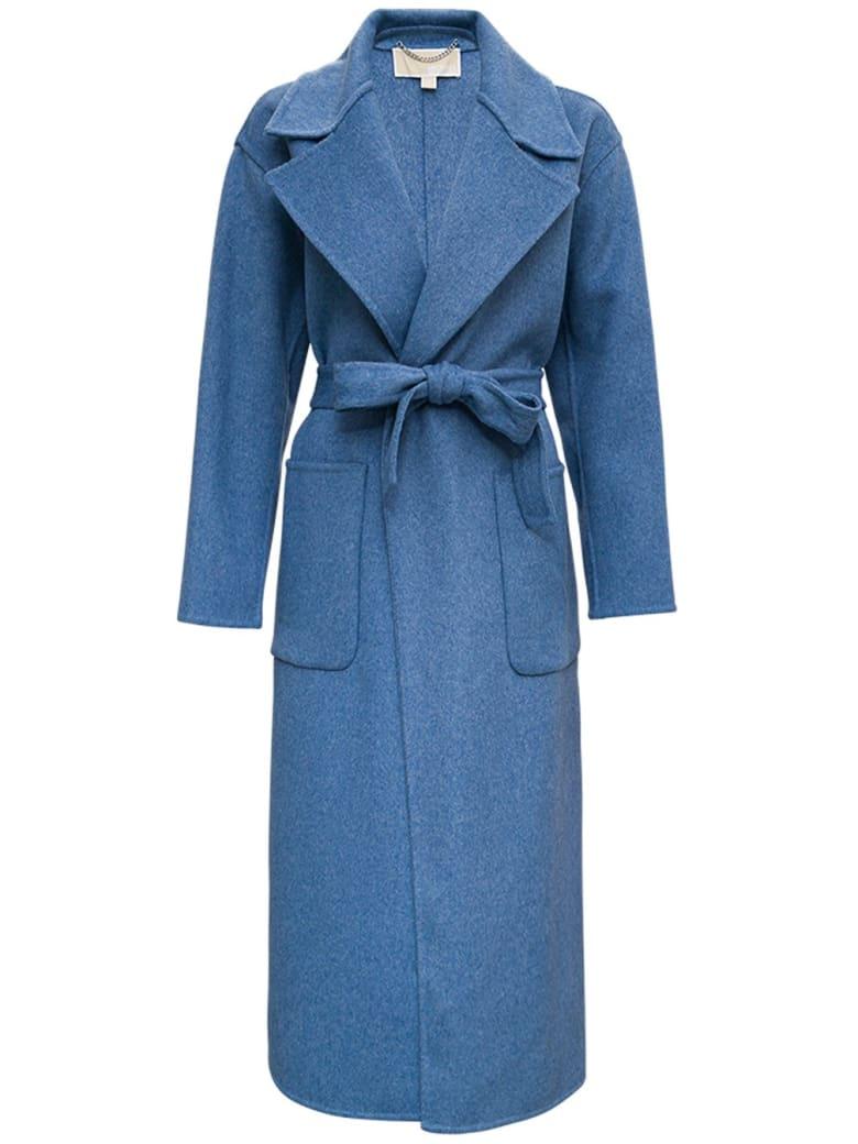 MICHAEL Michael Kors Blue Wool Coat With Belt - Blu