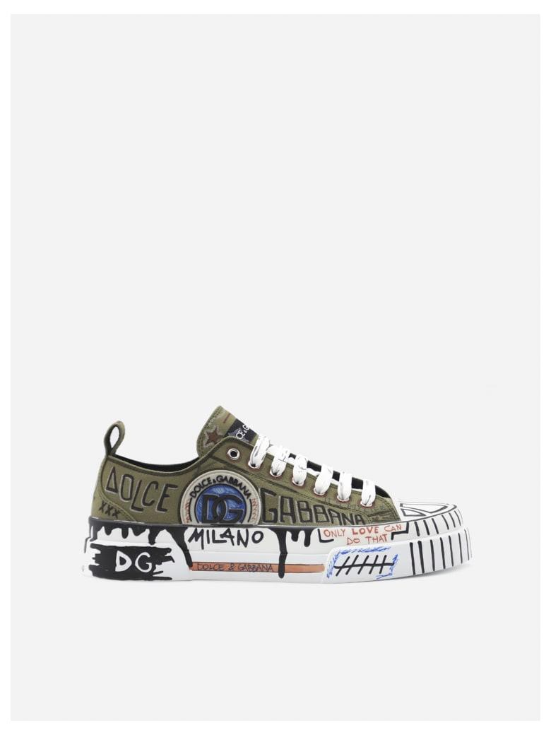 Dolce & Gabbana Portofino Light Sneakers In Canvas With Graffiti Print - Military green