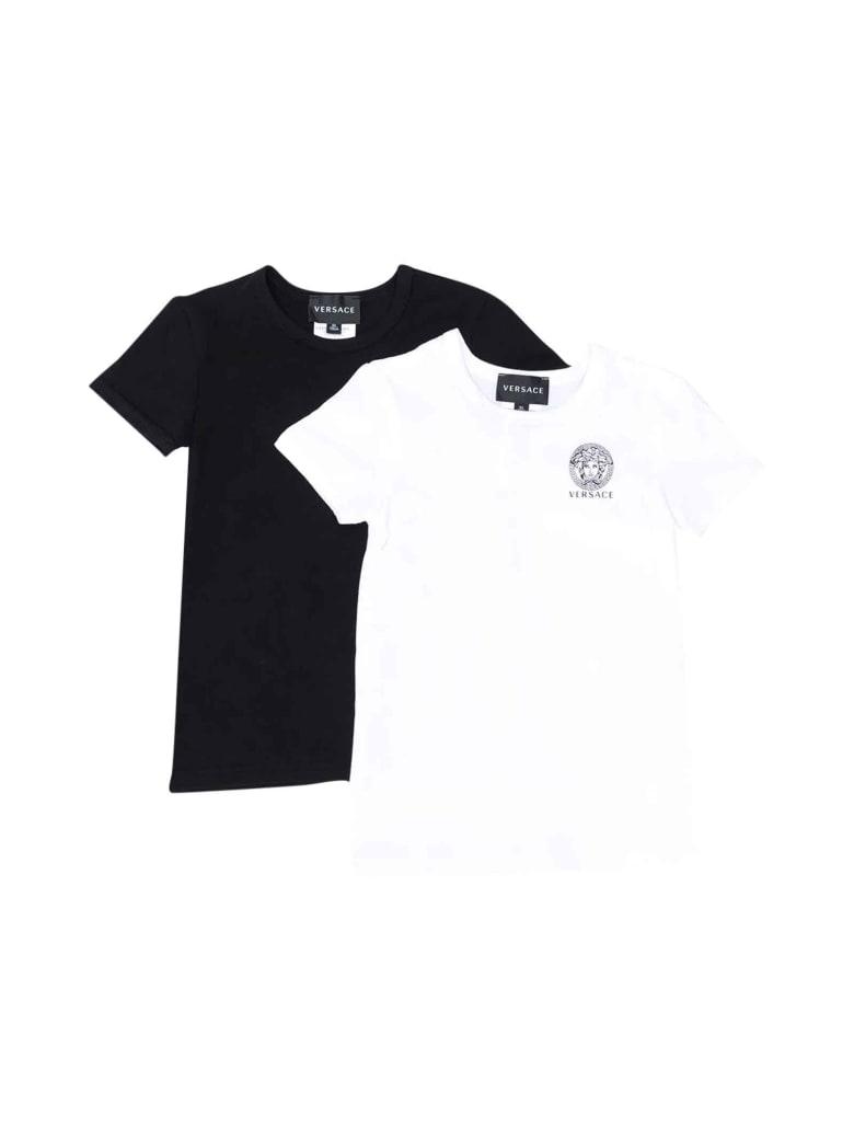 Versace Unisex Black And White T-shirt Set - Bianco/nero
