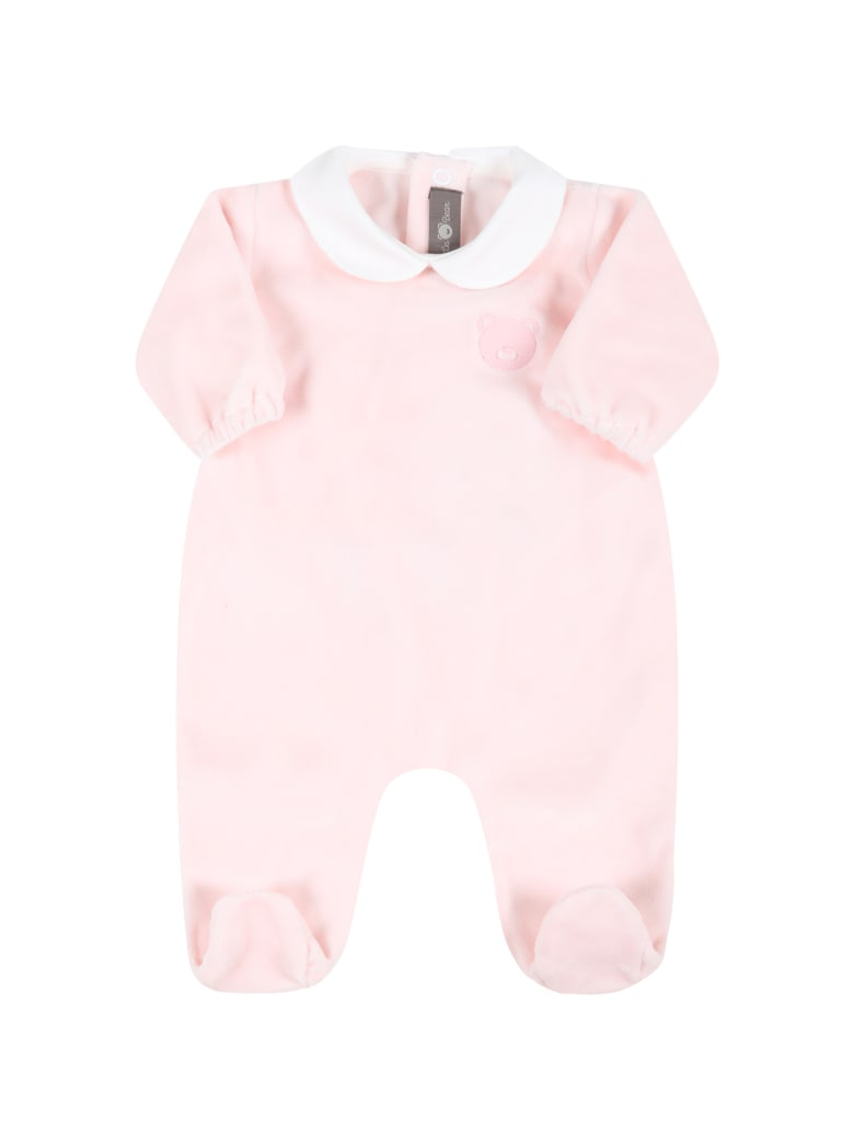 Little Bear Pink Babygrow For Baby Girl With Bear - Pink