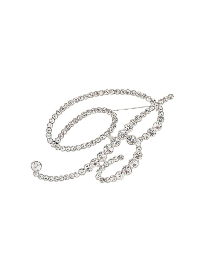 Blumarine Crystal B Monogram Brooch - ARGENTO (Silver)