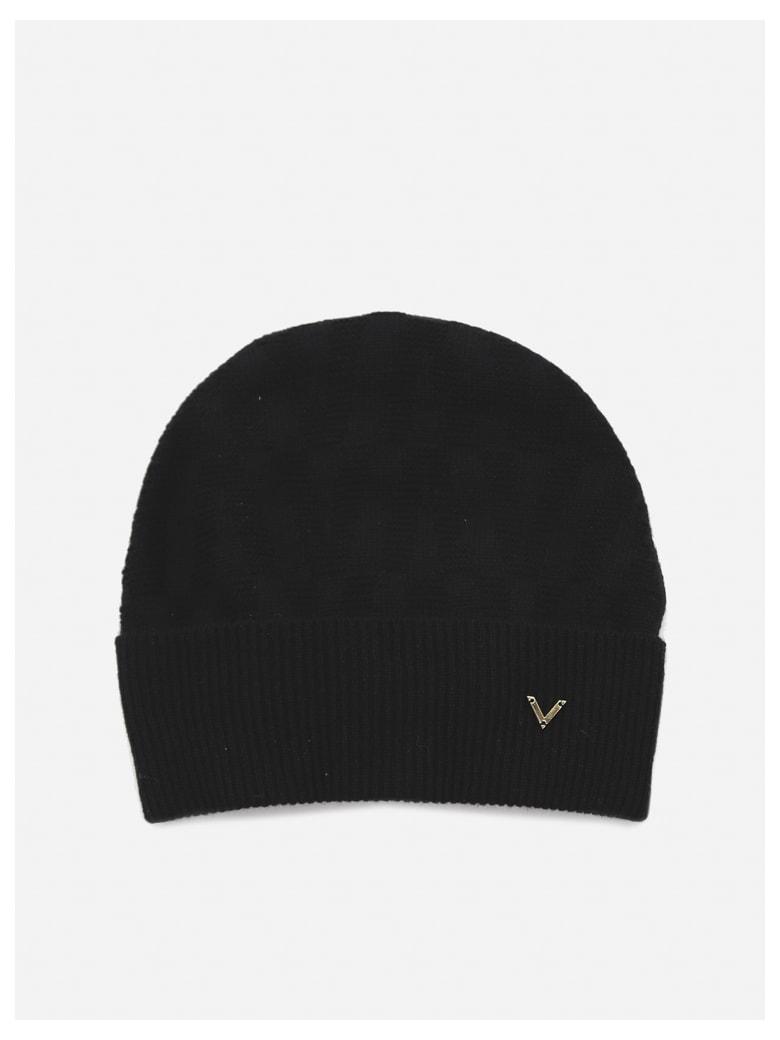 Valentino Garavani Beanie Hat In Wool And Cashmere - Black