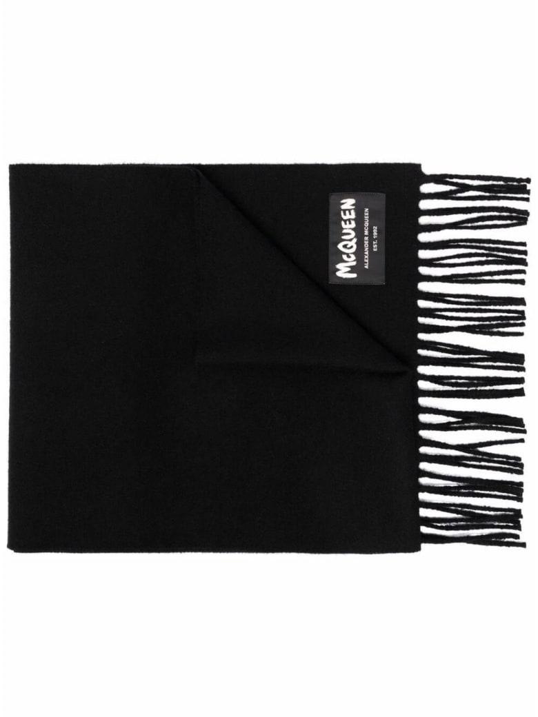 Alexander McQueen Graffiti  Black Wool Scarf - Black