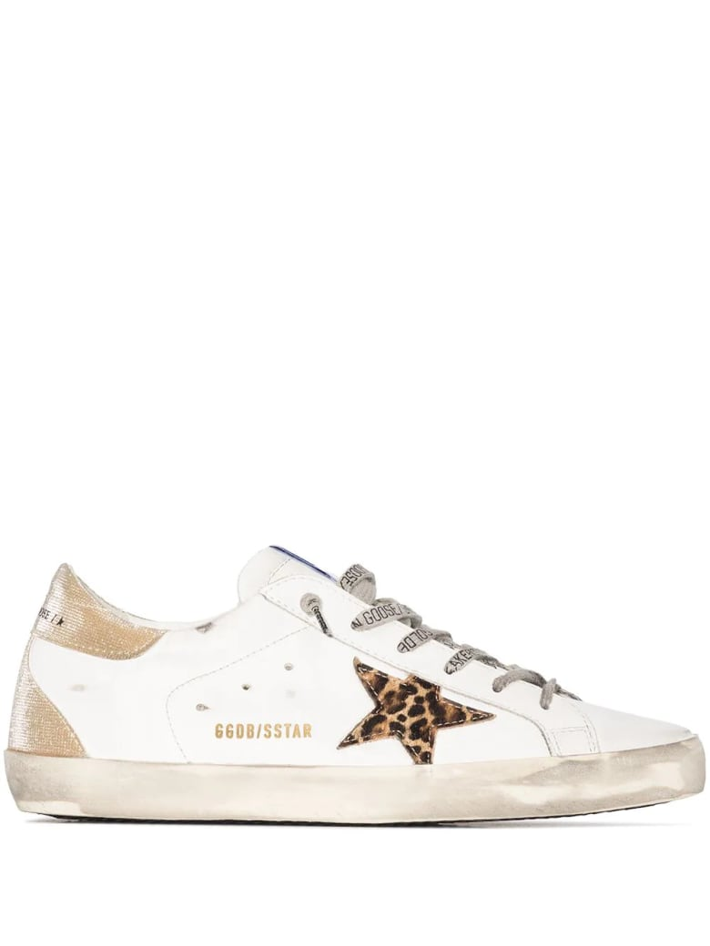 Golden Goose Woman White Super-star Sneakers With Leopard Star And Spoiler In Golden Fabric