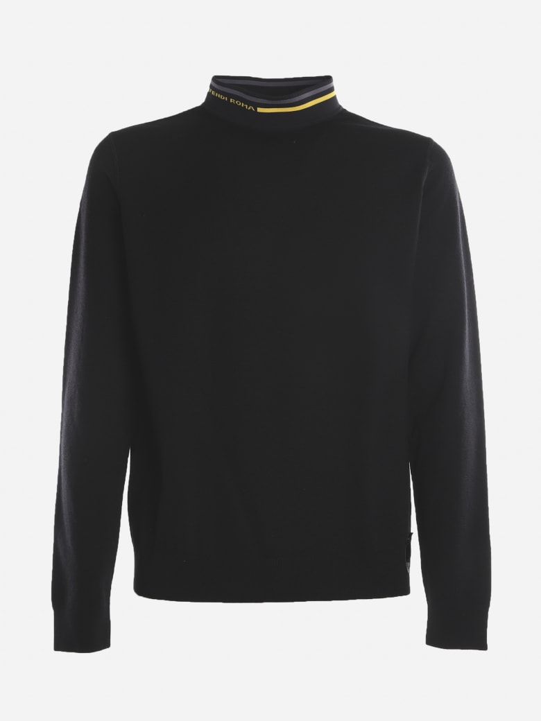Fendi Wool Sweater With Contrasting Inserts - Black
