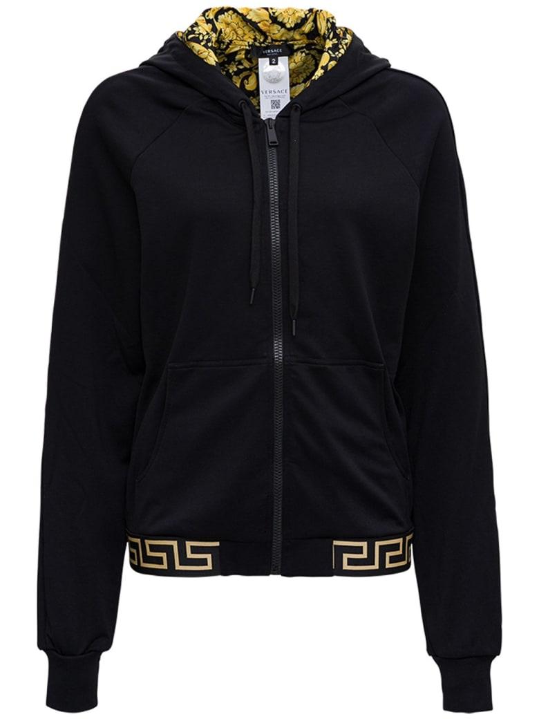 Versace Hoodie In Technical Jersey - Black