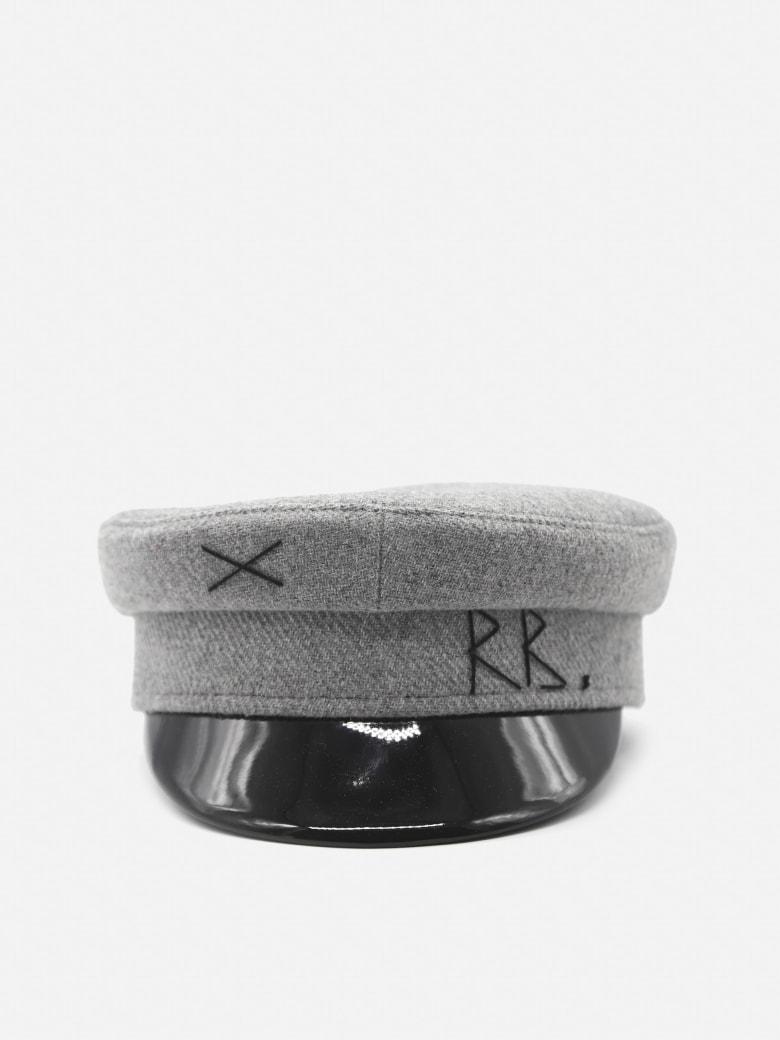 Ruslan Baginskiy Baker Boy Hat In Wool With Embroidered Logo - Grey, black