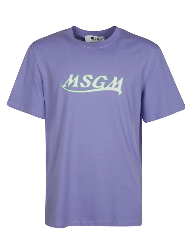 MSGM Chest Logo Print T-shirt - Lavender