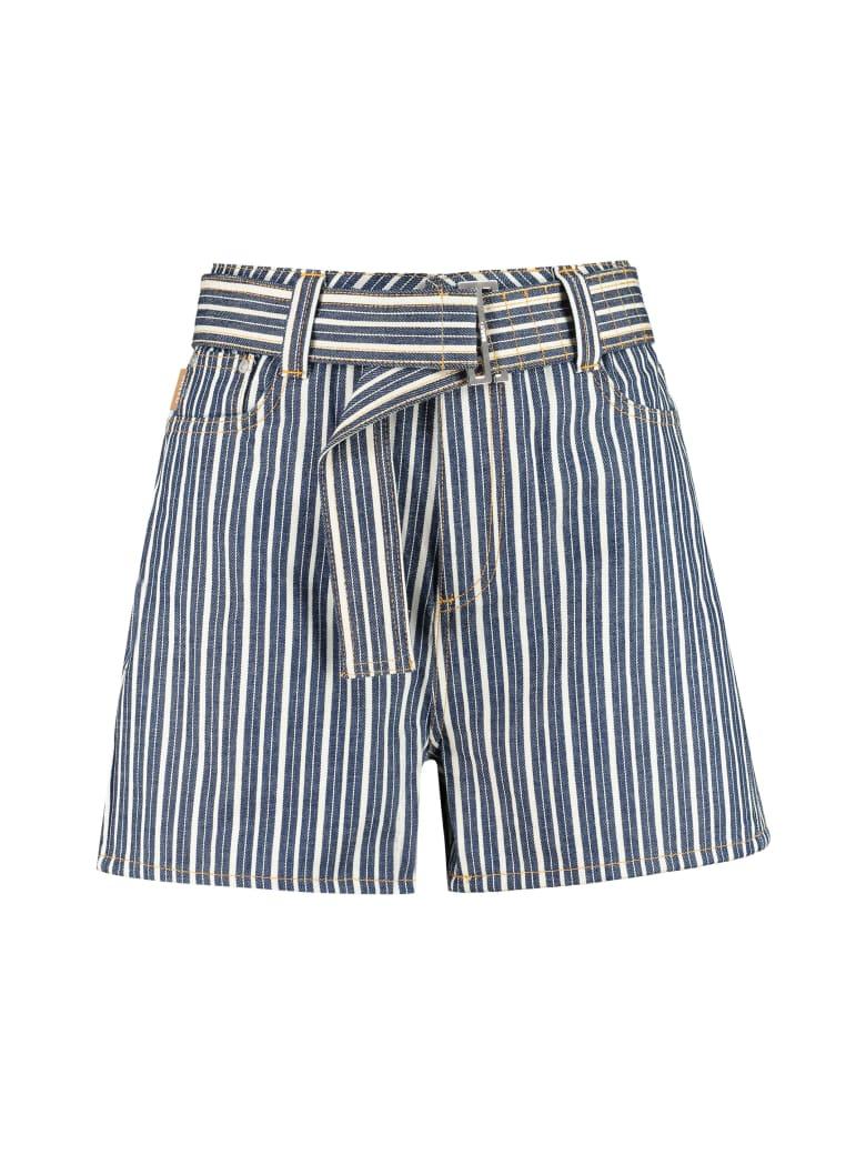 Ganni High-rise Cut-off Denim Shorts - Multicolor