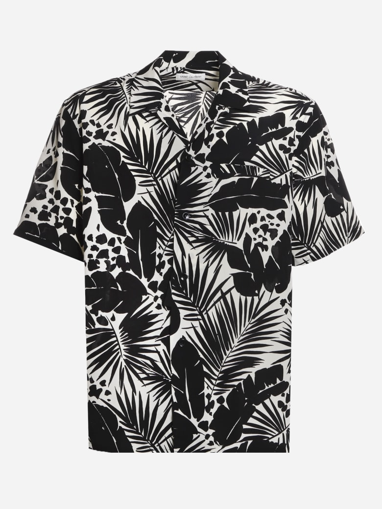Saint Laurent Silk Shirt With Tropical Leaf Motif - Black, white
