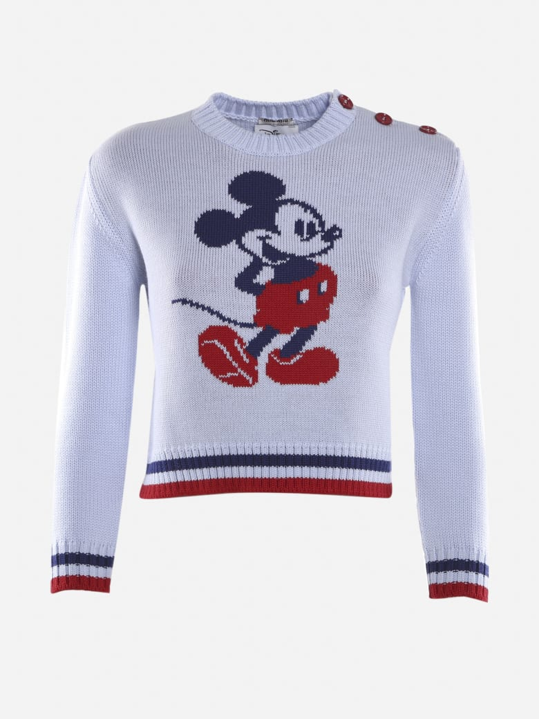 Miu Miu Cropped Wool Pullover With Mickey Mouse Intarsia - Lilac