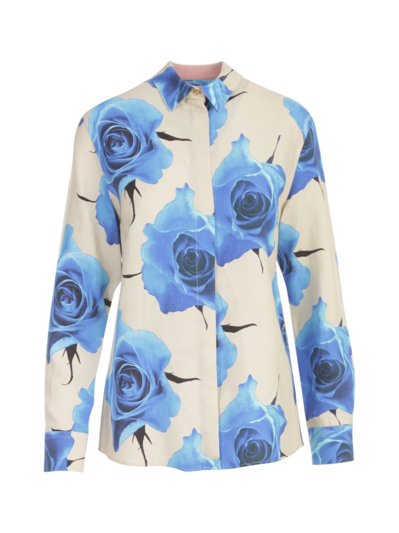 Paul Smith Flowers Printing Shirt W/lapel On Wrists - Blu