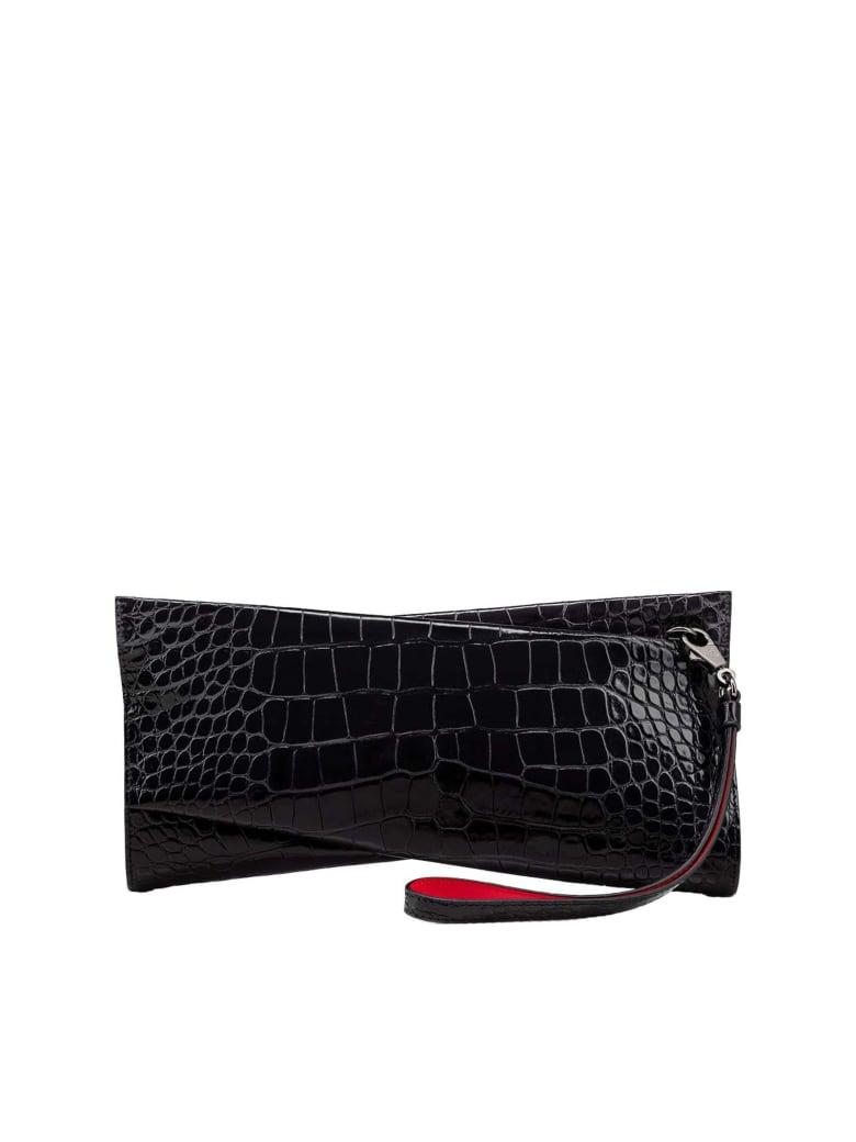 Christian Louboutin Black Cocco Printed Leather Loubitwist Clutch Bag - BLACK