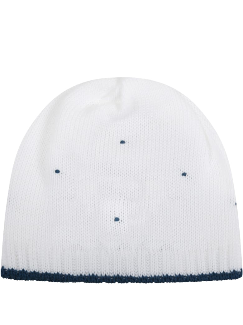Little Bear White Hat For Babyboy With Polka-dots - White