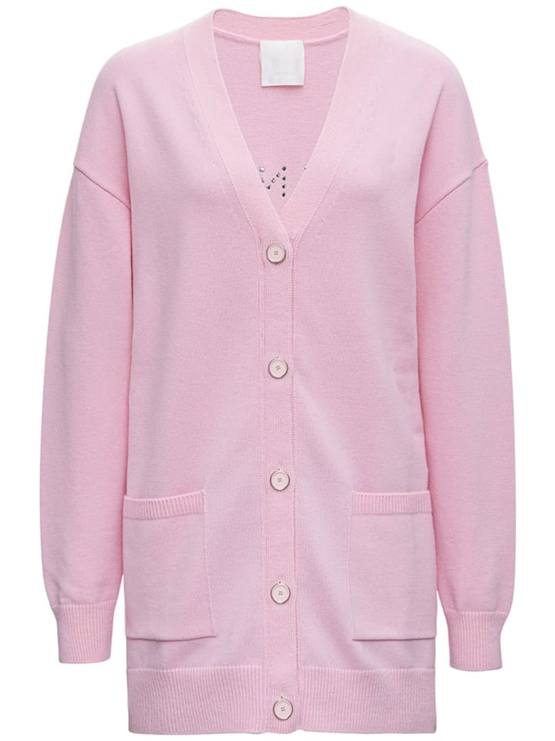 Givenchy Wool And Cashmere Pink Cardigan With Logo - Pink
